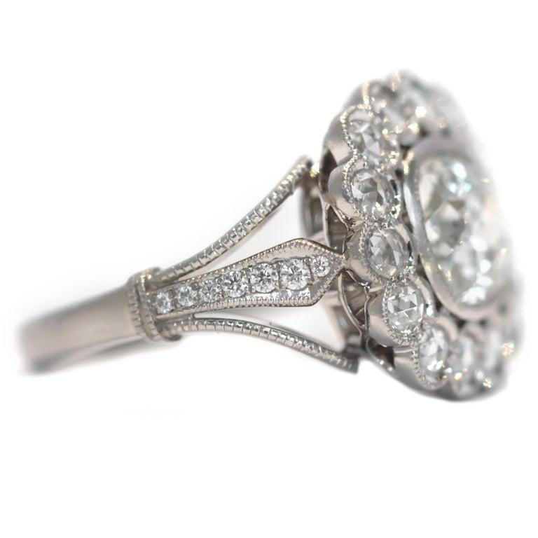 Art Deco GIA Certified 1.20 Carat Diamond Platinum Engagement Ring For Sale