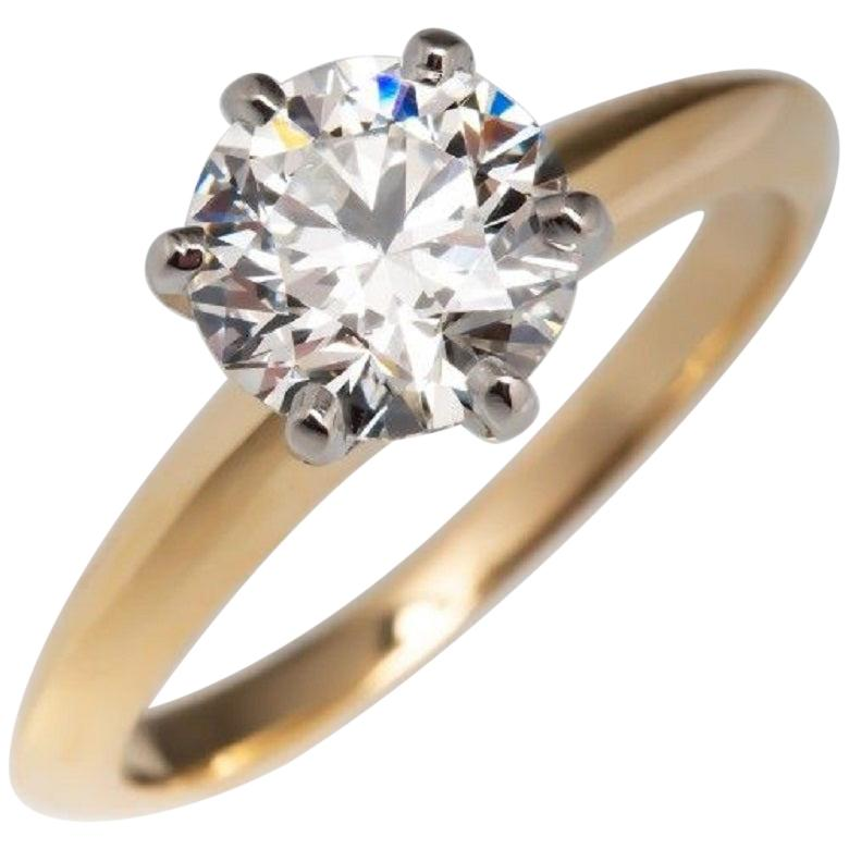 GIA Certified 1.20 Carat Excellent Cut Diamond Ring Hearts and Arrows 18 Karat