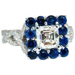 GIA Certified 1.20 Carat Natural Asscher Cut Diamond Ring 14 Karat Sapphire Halo