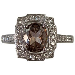 GIA Certified 1.20 Carat Natural Fancy Brown Oval Diamond Ring 18 Karat Gold