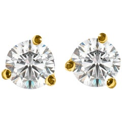 GIA Certified 1.20 Carat VVS Diamond Stud Earrings in 14 Karat Gold
