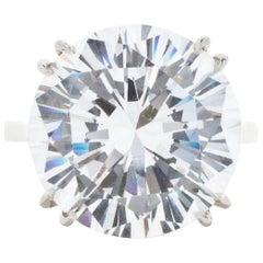 GIA Certified 12.79 Carat Round Brilliant Cut Diamond Platinum Ring