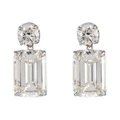 GIA Certified 12.07ct Emerald Cut Diamond Stud/Dangle Earrings 18k White Gold