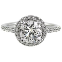 GIA Certified 1.21 Carat Diamond Halo Luxurious Platinum Engagement Ring