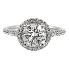 GIA Certified 1.21 Carat Diamond Halo Luxurious Platinum Engagement Ring