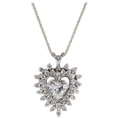 GIA Certified 1.21 Carat Heart Diamond Solitaire Pendant & Necklace in 18K Gold