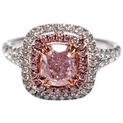 GIA Certified 1.21 Carat Natural Fancy Pink Diamond Engagement Ring