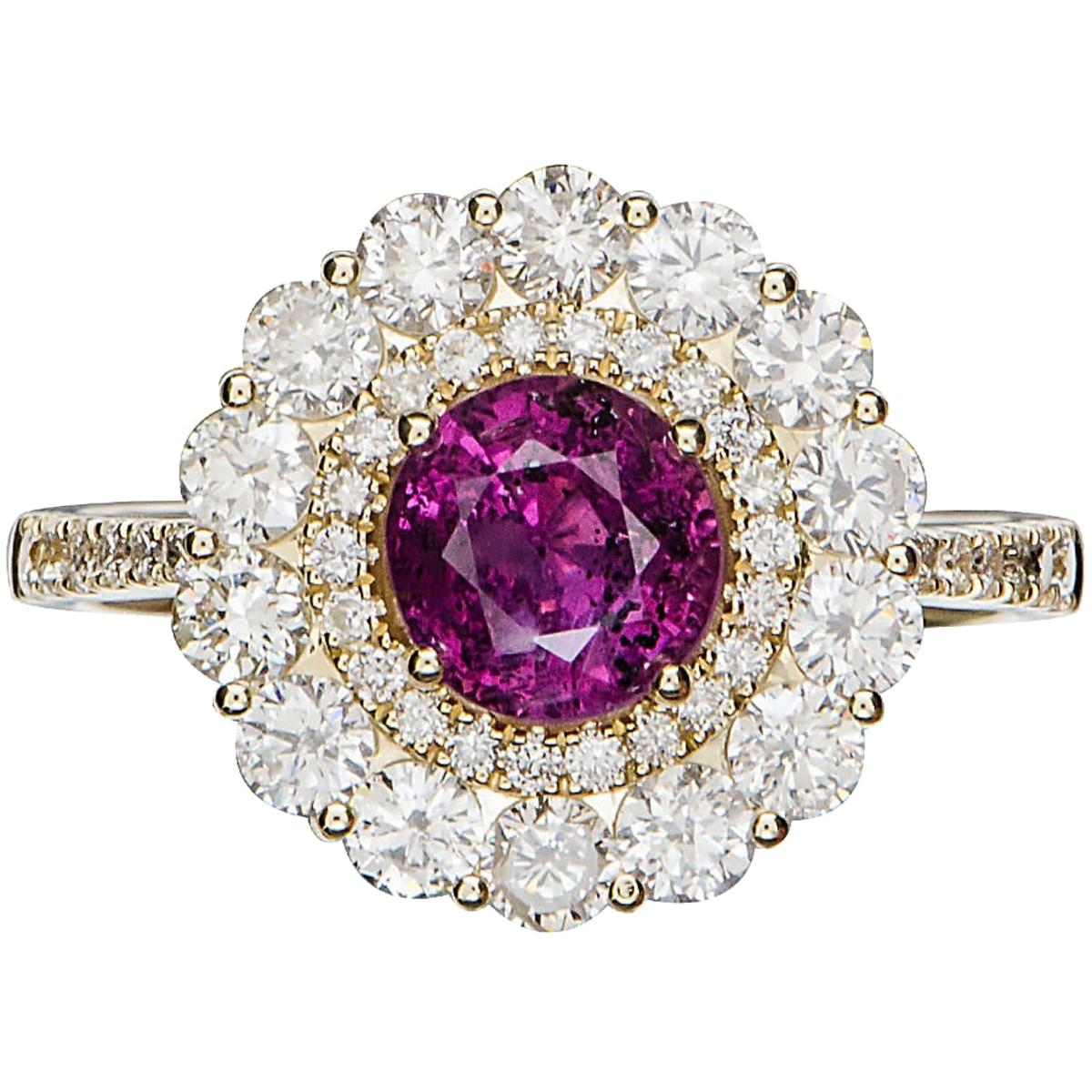 GIA 1.21 Ct No Heat Kashmir Natural Pink Sapphire 14 K Yellow Gold Ring