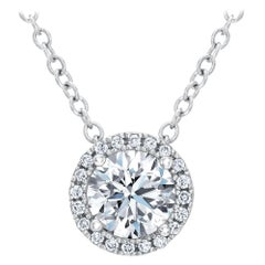 GIA Certified 1.21 Carat Round Diamond Solitaire Halo Pendant and Necklace 14K