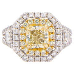 GIA Certified 1.21 Carat VVS1 Diamond Ring Set with Double Halo 18K Gold