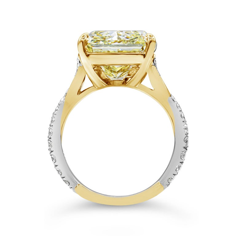 Contemporary GIA Certified 12.16 Carat Yellow Diamond Twisted Engagement Ring For Sale