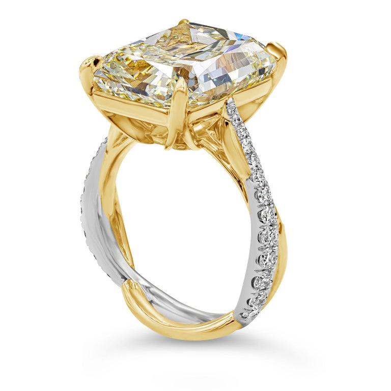 Radiant Cut GIA Certified 12.16 Carat Yellow Diamond Twisted Engagement Ring For Sale