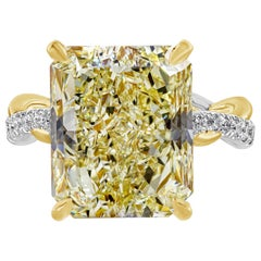 GIA Certified 12.16 Carat Yellow Diamond Twisted Engagement Ring