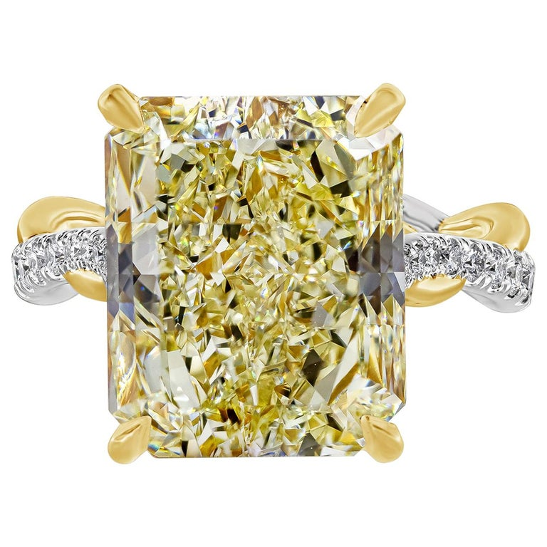 GIA Certified 12.16 Carat Yellow Diamond Twisted Engagement Ring For Sale