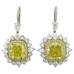 GIA Certified 12.19 Carat Yellow Cushion-Cut Diamond Stud or Hanging Earrings