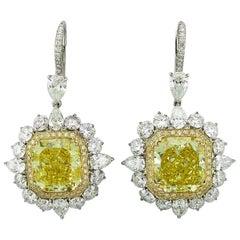 GIA Certified 12.19 Carat Yellow Cushion-Cut Diamond Stud or Hanging Earrings