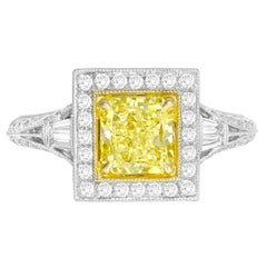 DiamondTown GIA Certified 1.22 Carat Natural Fancy Yellow SI1 Diamond Ring