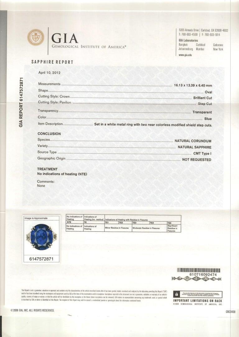 Unheated 12.23 Carat Ceylon Blue Sapphire GIA, Diamond Platinum 3-Stone Ring For Sale 4