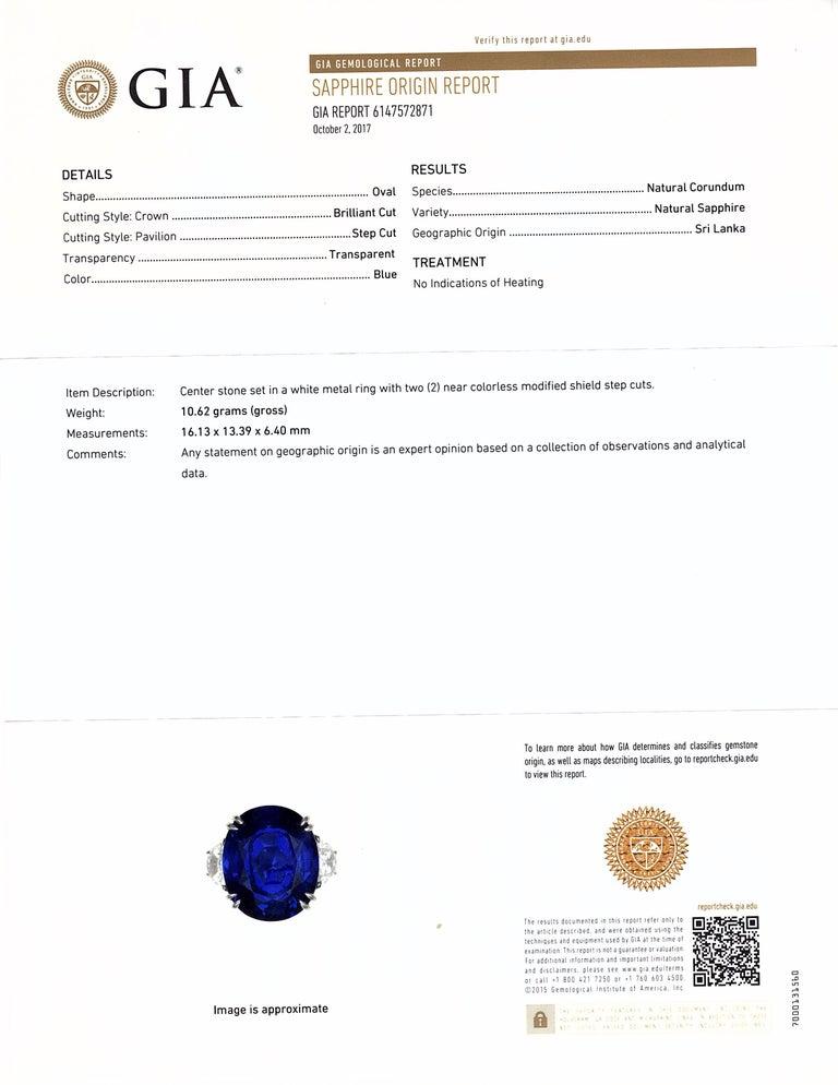 Unheated 12.23 Carat Ceylon Blue Sapphire GIA, Diamond Platinum 3-Stone Ring For Sale 3