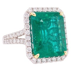 GIA Certified 12.25 Carat African Emerald and Diamond Cocktail Ring