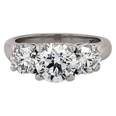 GIA Certified 2.23 Carat Diamond Three-Stone Engagement Ring