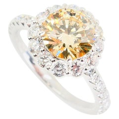 GIA Certified 1.23 Fancy Light Brownish Yellow Diamond Cocktail Ring VS2 Clarity