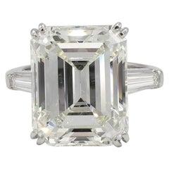 GIA Certified 12.33 Carat Emerald Cut Diamond Engagement Ring Platinum