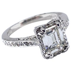 GIA Certified 1.24 Carat Emerald Cut Diamond in Platinum Tacori Engagement Ring