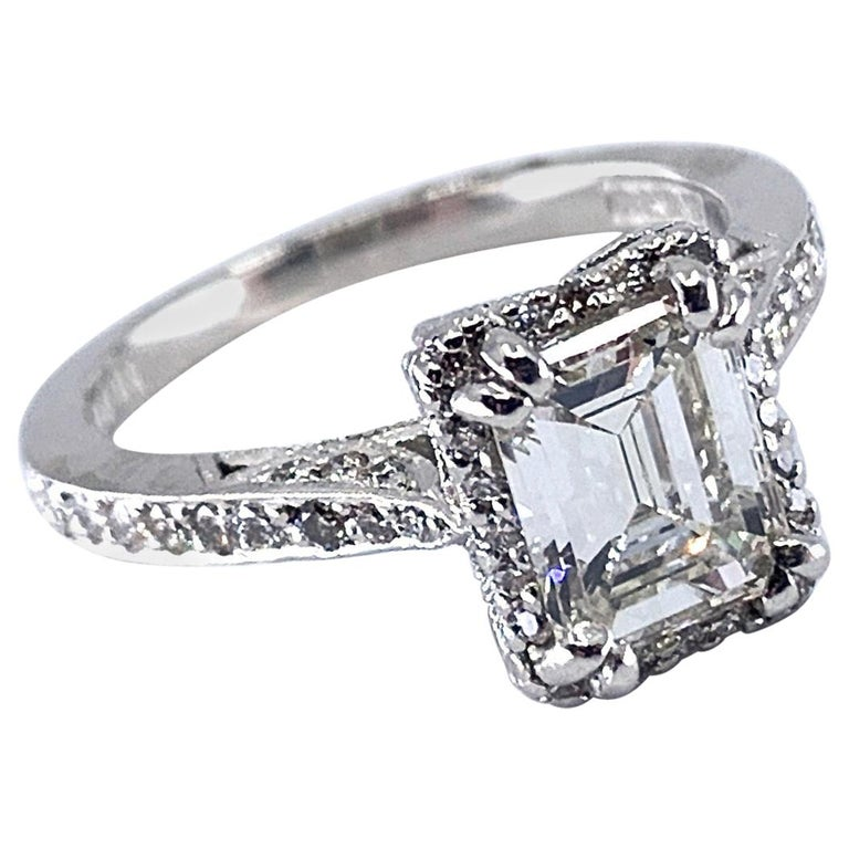 Gia Certified 1 24 Carat Emerald Cut Diamond In Platinum Tacori Engagement Ring For Sale At 1stdibs