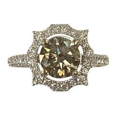 GIA Certified 1.24 Carat Fancy Dark Gray Round Diamond Ring 18 Karat White Gold