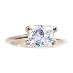 GIA Certified 1.24 Carat Natural Radiant Diamond Ring 14 Karat Gold