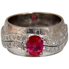 GIA Certified 1.24 Carat No Heat Ruby Diamond Ring 14 Karat Band