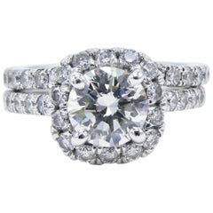 GIA Certified 1.24 Carat Platinum Diamond Halo Engagement Ring Wedding Set