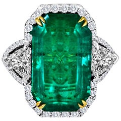 GIA Certified 12.40Carat Emerald and Diamond Halo Three Stone Gold Cocktail Ring