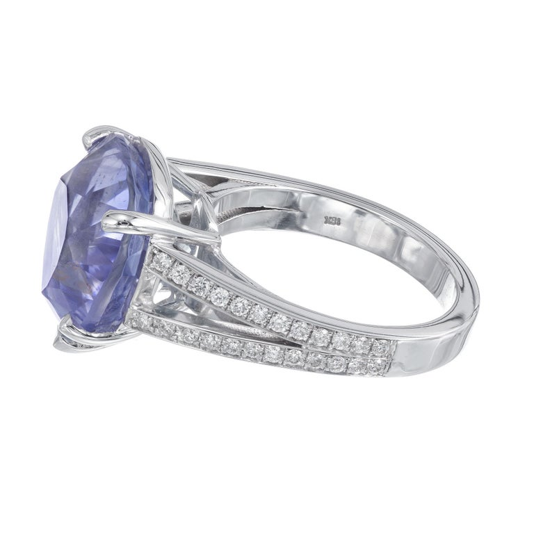 GIA Certified 12.42 Carat Natural Pear Sapphire Diamond Engagement Ring In Excellent Condition For Sale In Stamford, CT