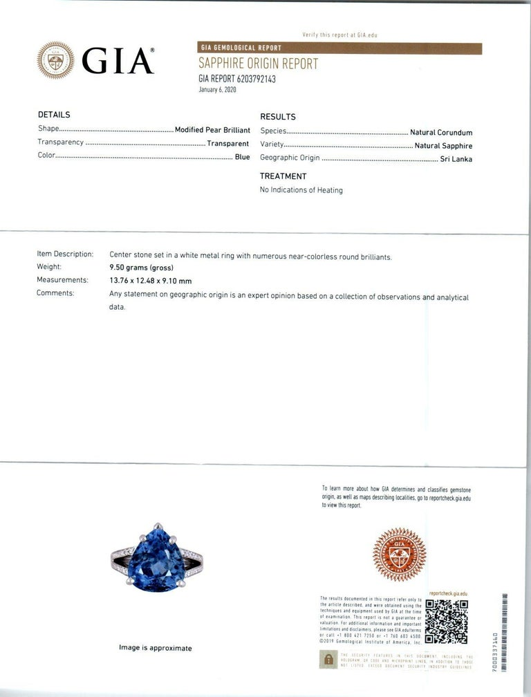 GIA Certified 12.42 Carat Natural Pear Sapphire Diamond Engagement Ring For Sale 3