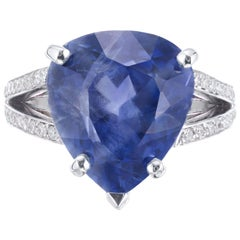 GIA Certified 12.42 Carat Natural Pear Sapphire Diamond Engagement Ring