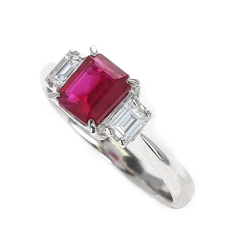 Emerald Cut GIA Certified 1.25 Carat Emerald-Cut Burma Ruby Three-Stone Diamond Ring For Sale