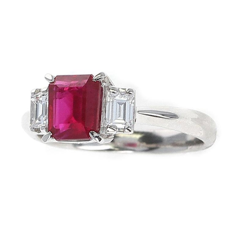 GIA Certified 1.25 Carat Emerald-Cut Burma Ruby Three-Stone Diamond Ring In Excellent Condition For Sale In New York, NY