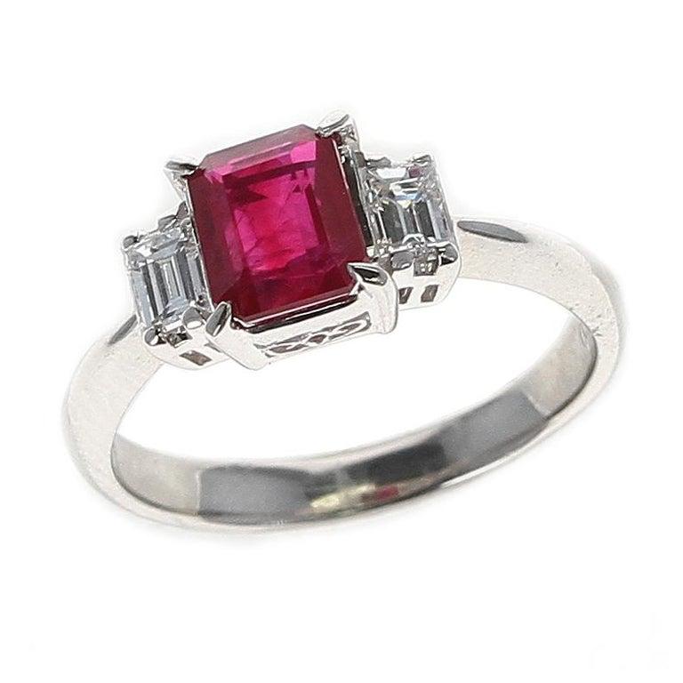 GIA Certified 1.25 Carat Emerald-Cut Burma Ruby Three-Stone Diamond Ring For Sale 1