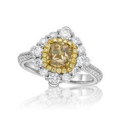 KAHN GIA Certified 1.25 Carat Light Brown Diamond Ring