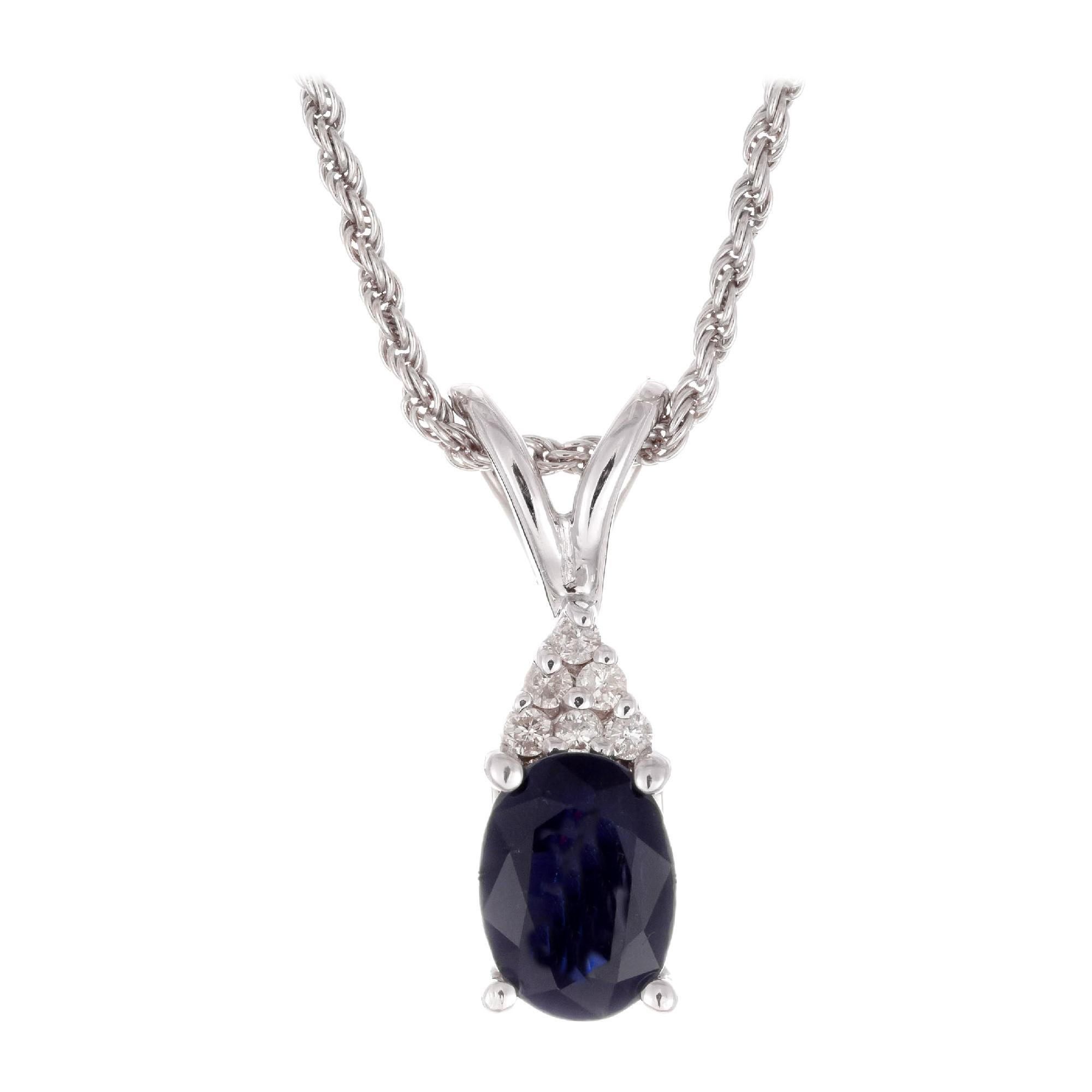GIA Certified 1.25 Carat Sapphire Diamond White Gold Pendant Necklace