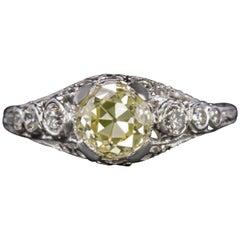 GIA Certified 1.25 Carat Vintage Engagement Ring Fancy Yellow Platinum