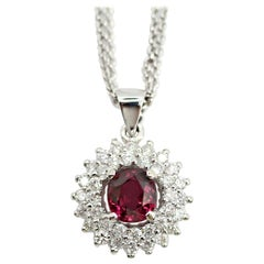 GIA Certified 1.25 Oval Ruby and Diamond Pendant