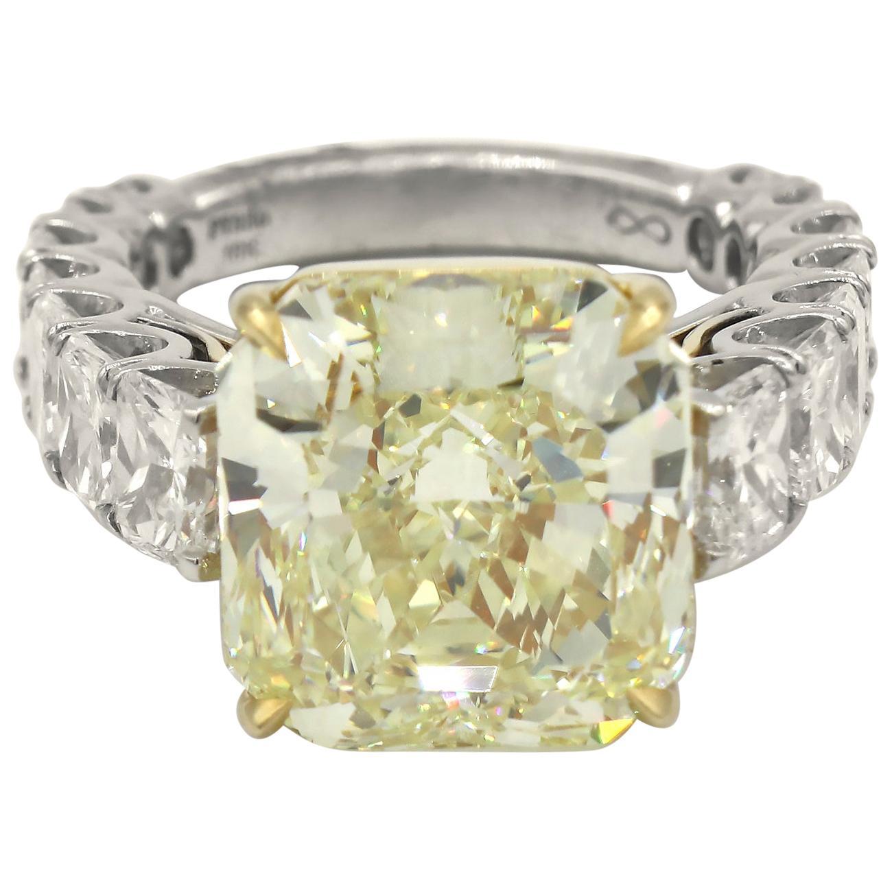 GIA Certified 12.50 Carat Fancy Yellow Radiant Diamond 17 Carat Diamond Ring PT