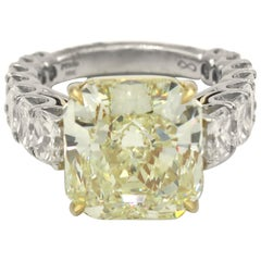 GIA Certified 12.50 Carat Fancy Yellow Radiant Diamond 17 Carat Diamond Ring PT