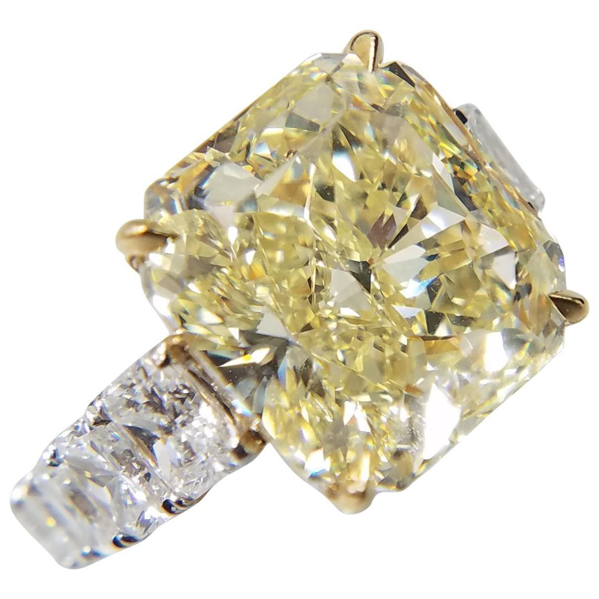 GIA Certified 12.50 Carat Natural Fancy Yellow Radiant Diamond Ring