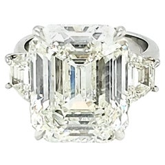 GIA Certified 12.58 Carat Emerald Cut Three-Stone Ring