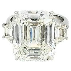 GIA Certified 12.58 Carat Emerald Cut Three-Stone Ring