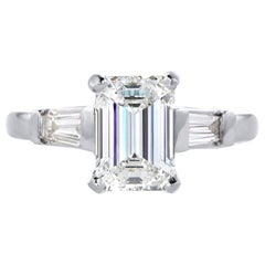 GIA Certified 1.26 Carat Emerald Cut Diamond Solitaire Ring in 14K White Gold